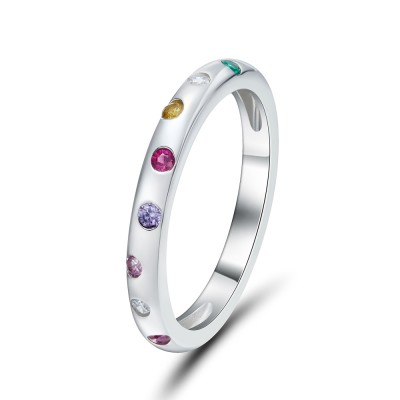 Multicolor Round Cut 925 Sterling Silver Women's Wedding Band