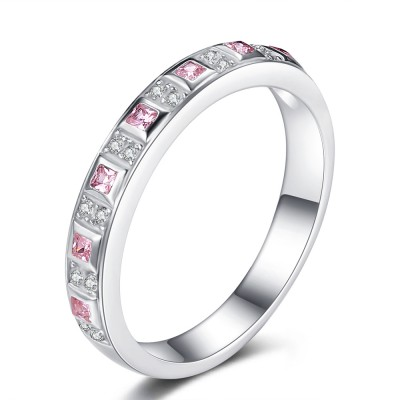 Princess Cut Pink Sapphire 925 Sterling Silver Engagement Ring