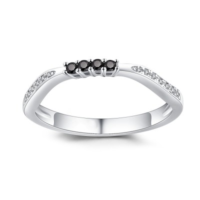 Round Cut Black Sapphire 925 Sterling Silver Women's Wedding Bands