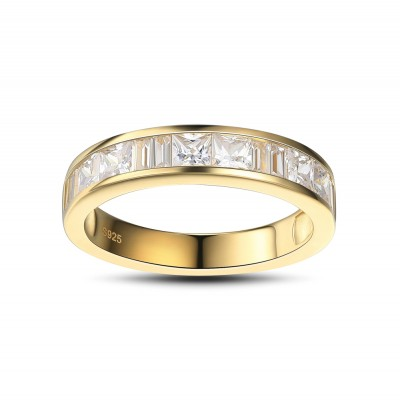 Princess Cut White Sapphire Gold 925 Sterling Silver Women's Wedding Bands