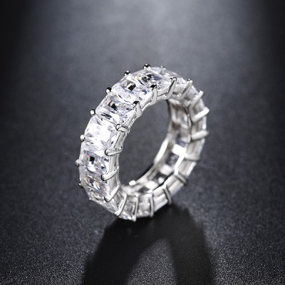 Radiant Cut White Sapphire 925 Sterling Silver Wedding Bands