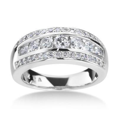 Round Cut White Sapphire Sterling Silver Wedding Band