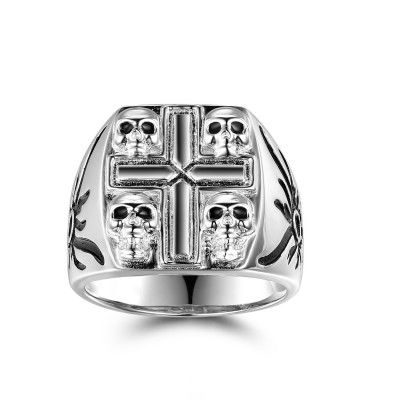 Black Gemstone Sterling Silver Four Skull Ring