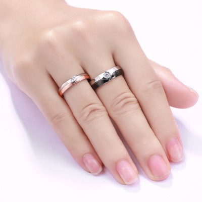 Round Cut Gemstone Titanium Steel Promise Ring for Couples