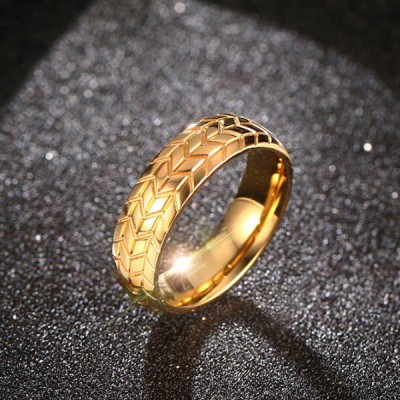 Titanium Tire Gold Men's Ring