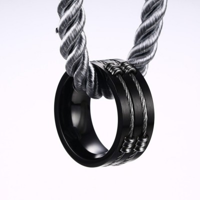 Titanium Black Steel Wire Men's Ring