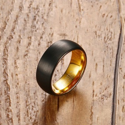 Tungsten Gold & Black Men's Ring