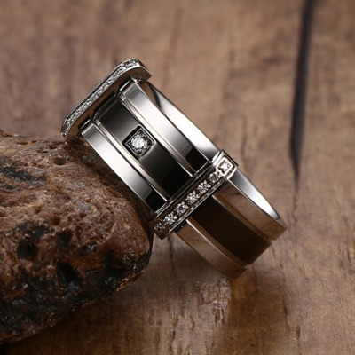 Titanium Silver & Black Round Cut White Sapphire Men's Ring