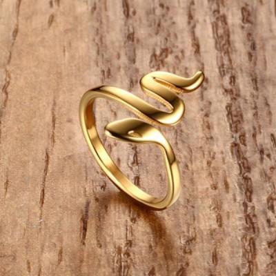 Titanium Gold Snake Promise Rings For Her