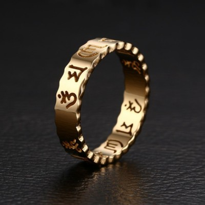 Titanium Hollowed-out Gold Promise Rings For Her