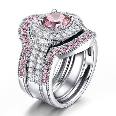 Round Cut White & Pink Sapphire Bridal Sets