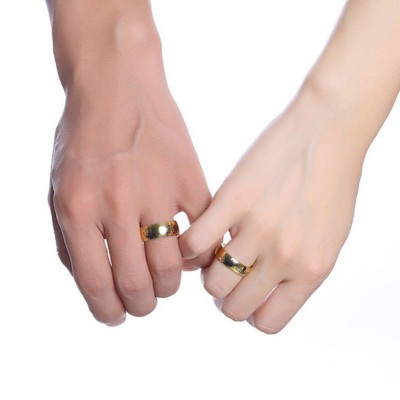 King & Queen Gold Titanium Couple Rings