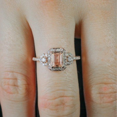Emerald Cut Pink Sapphire Halo Rose Gold Bridal Sets