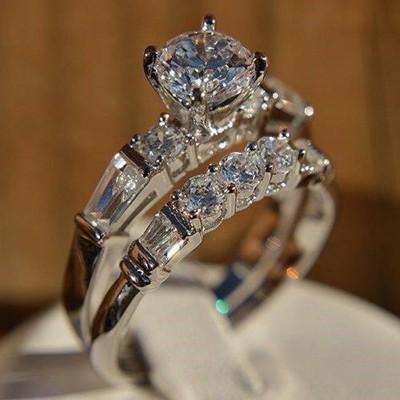 Gorgeous Round Cut White Sapphire Bridal Sets