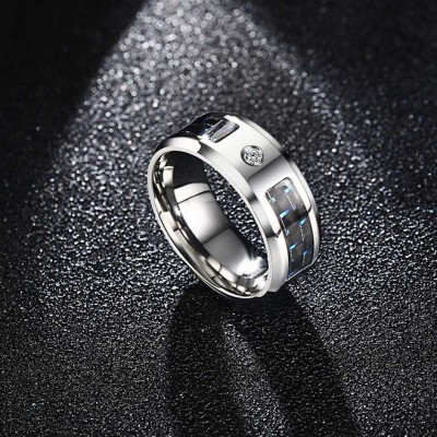 Cool Round Cut White Sapphire Titanium Steel Men's Ring