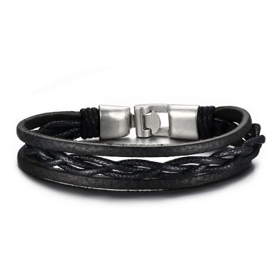 Black Leather Buckle 925 Sterling Silver Bracelet