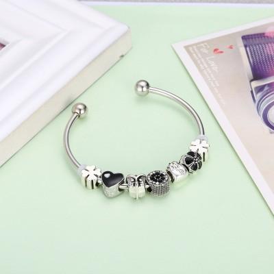 Round Cut White & Black Sapphire Silver Titanium Bracelets
