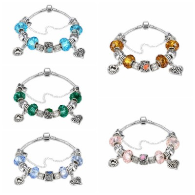 White/Emerald/Pink/Aquamarine/Topaz/Light Blue Silver Titanium Bracelets
