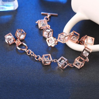 Round Cut White Sapphire Rose Gold Cube S925 Silver Bracelets