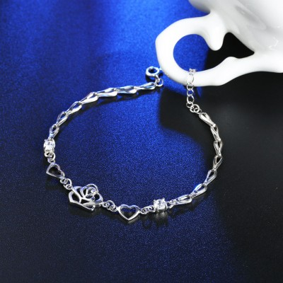 Gorgeous Heart and Rose S925 Silver Bracelets