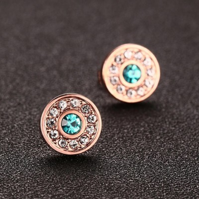 Round Cut Emerald White Sapphire Rose Gold 925 Sterling Silver Earrings