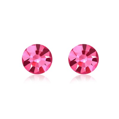 Round Cut Aquamarine/Pink Sapphire S925 Silver Earrings