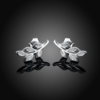 Branch Round Cut White Sapphire S925 Silver Earrings