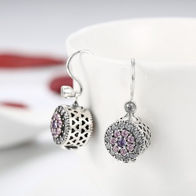 Round Cut Pink Amethyst White Sapphire S925 Silver Earrings
