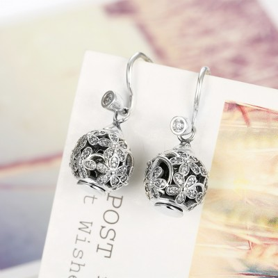 Round Cut White Sapphire Flower S925 Silver Earrings