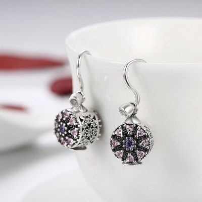 Trillion Round Cut Amethyst Pink Sapphire S925 Silver Earrings
