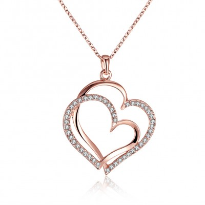 Heart Round Cut White Sapphire Gold/Rose Gold/Silver Titanium Necklaces