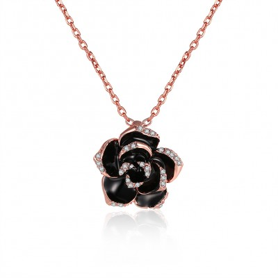 Rose Round Cut White Sapphire Gold/Rose Gold/Silver Titanium Necklaces