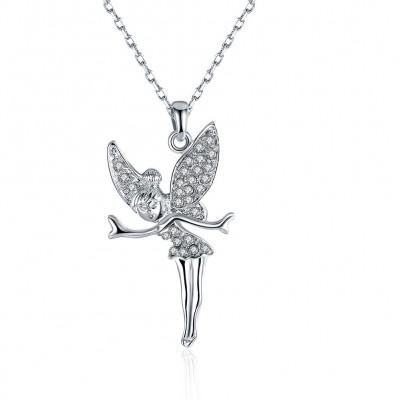 Fairy Round Cut White Sapphire Gold/Rose Gold/Silver Titanium Necklaces