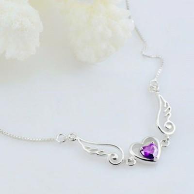 ANGEL & LOVER Heart Cut Amethyst Wings Necklaces