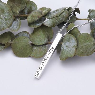 925 Sterling Silver 3D Engraved Vertical Bar Necklace