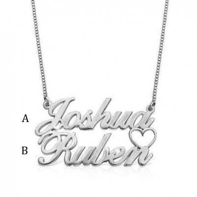 925 Sterling Silver Overlapping Two Name Necklace