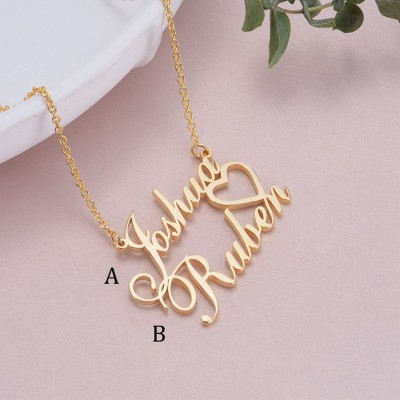 925 Sterling Silver Gold Overlapping Two Name Necklace