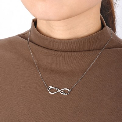 925 Sterling Silver Infinity Two Name Necklace