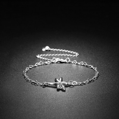 Cute Silver Dragonfly Shape Titanium Anklets