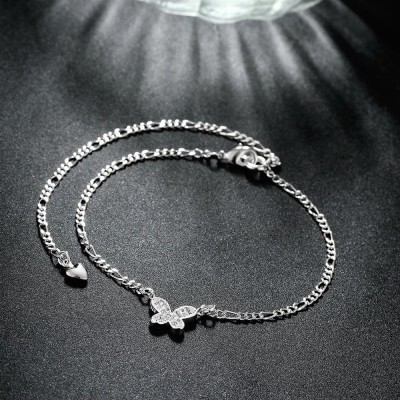 Round Cut White Sapphire Butterfly Silver Titanium Anklets