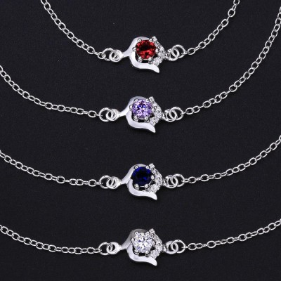 Silver Round Cut White/Blue/Ruby/Amethyst Sapphire Titanium Anklets