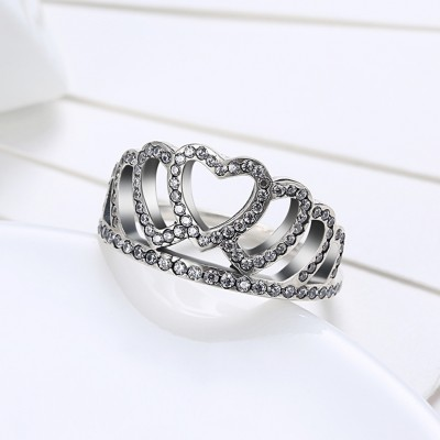 Crown Round Cut White Sapphire S925 Silver Promise Rings
