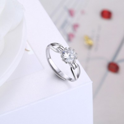 Lovely Round Cut White Sapphire S925 Silver Engagement Rings