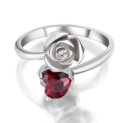 Heart Cut Garnet 925 Sterling Silver Promise Rings For Her