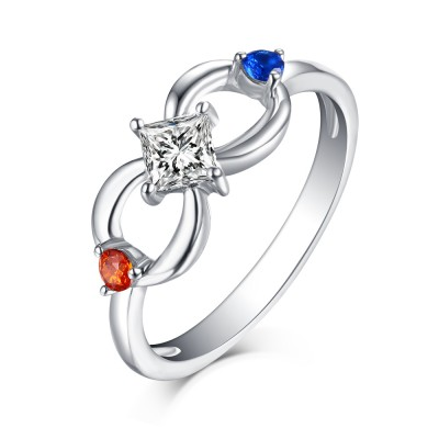 Princess Cut Ruby & Blue White Sapphire S925 Silver Infinity Rings