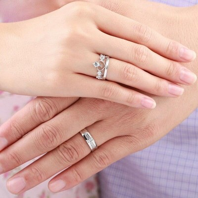 Crown & Cross Matching White Sapphire 925 Silver Couple Rings