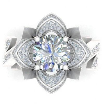 Unique Floral White Sapphire Bridal Sets