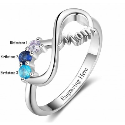 Round Cut 925 Sterling Silver Infinity Engraved Personalized Birthstone Mother Ring