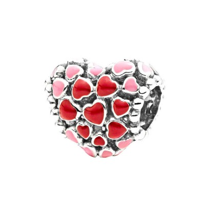 Pink & Red Hearts Charm Sterling Silver