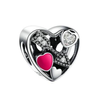 Arrow Hearts Charm Sterling Silver